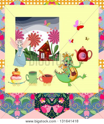 Beautiful card with dragon, princess, fairy house and elements for teatime on colorful patchwork background. Childish vector illustration.