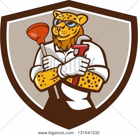 Illustration of a leopard plumber holding wrench and plunger viewed from front set inside shield crest on isolated on background done in cartoon style.