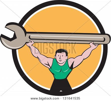 Illustration of a mechanic lifting giant spanner wrench over head viewed from front set inside circle on isolated background done in cartoon style.