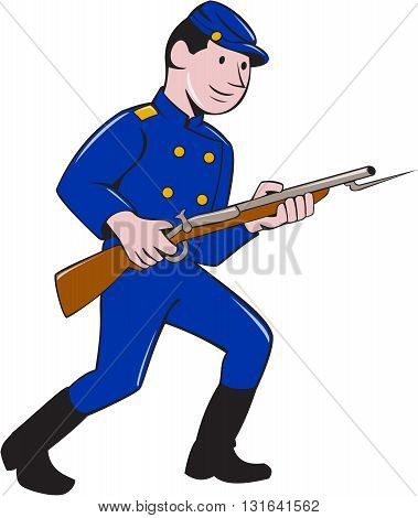 Illustration of a Union Army soldier during the American Civil War holding rifle with bayonet set on isolated white background done in cartoon style.