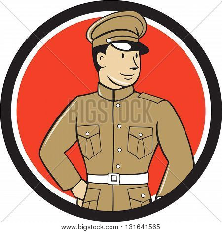 Illustration of a World War one British officer soldier serviceman standing looking to the side viewed from front set inside circle on isolated background done in cartoon style.