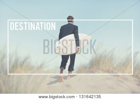 Businessman with Surfboard Going to the Beach Concept