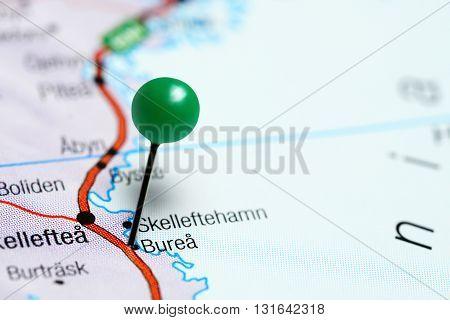 Burea pinned on a map of Sweden