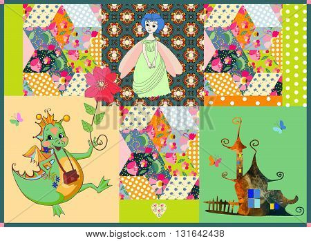 Childish patchwork pattern with fairy dragon, princess and cute house. Colorful patches with flowers and ornaments. Vector illustration.