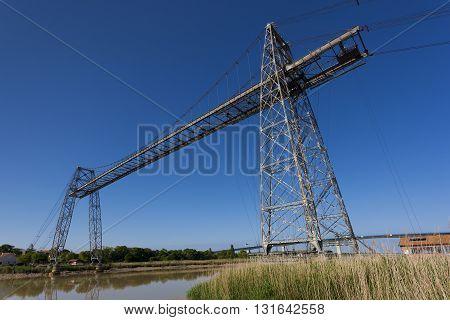 Transporter bridge crossing the Charente Rochefort and Echillais Charente-Maritime France