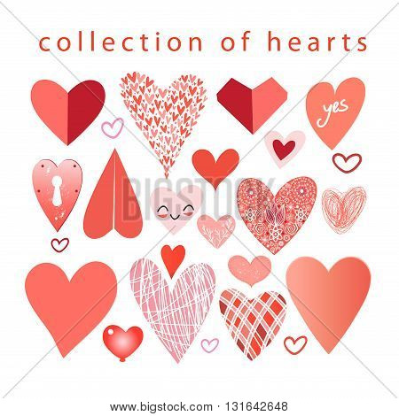 Vector collection of hearts on a white background