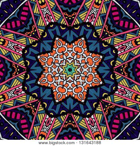 Abstract Tribal vintage ethnic seamless pattern ornamental. Festive colorful background design. doodle frame