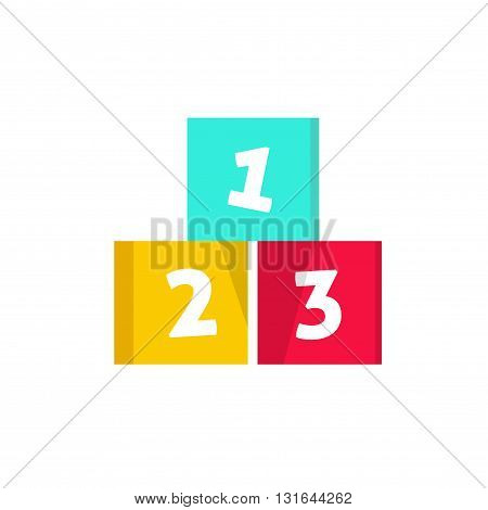 123 cubes vector illustration building blocks with numbers logo design element concept of children game symbol education isolated on white background