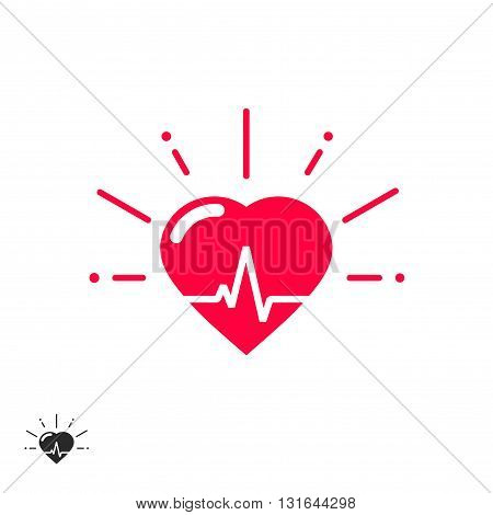 Heart beat vector icon with cheering rays good healthy heart shape with beat line inside flat cartoon illustration design isolated on white background