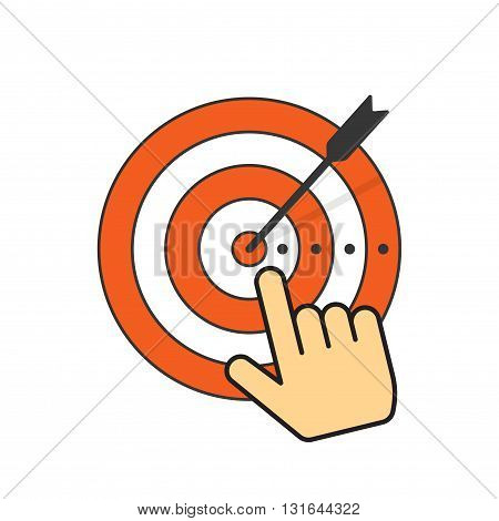 Abstract target icon with arrow in center of aim hand with pointer finger vector illustration design isolated on white background