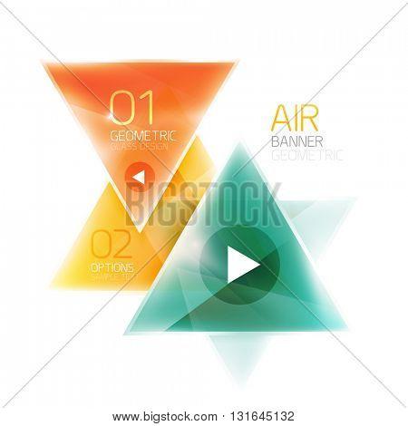 Shiny glass triangle web box. Vector geometric template