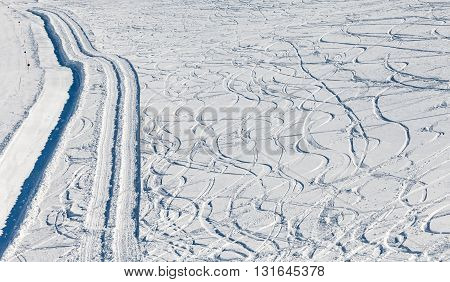 Close up photo of ski tracks on the snow