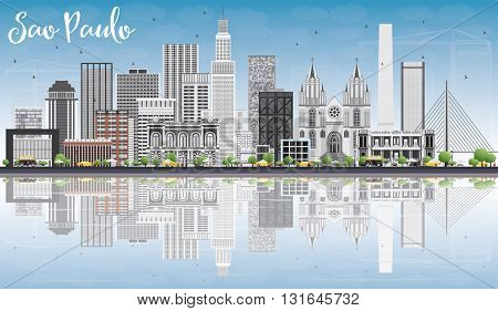 Sao Paulo Skyline with Gray Buildings, Blue Sky and Reflections. Vector Illustration. Business Travel and Tourism Concept with Modern Buildings. Image for Presentation Banner Placard and Web Site.