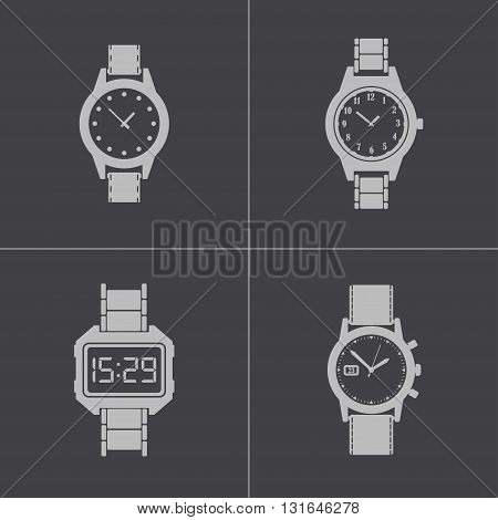 Vector black wristwatch icons set on grey background