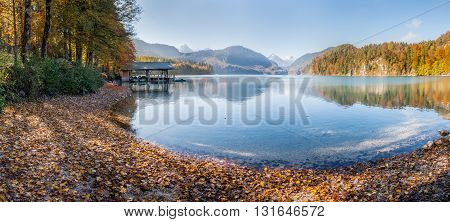 Autumn Lake In Mountain And Blue Sky