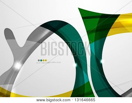 Shiny wave modern motion template - color curve stripes and lines in motion concept and with light and shadow effects.