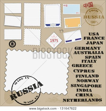 vector set of stamps and stamps for design