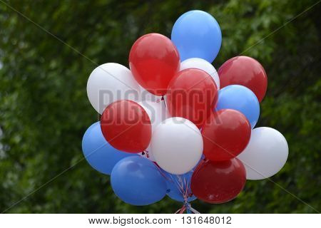 balloons white blue and red colors assembled in a bundle
