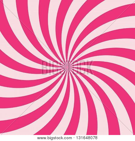 Swirling radial vortex background. Pink stripes swirling around the center of the square. Vector illustration in EPS8 format.