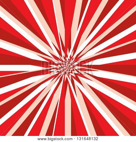 Burst abstract vector background. Explosion distortion effect. Red white and pink stripes as a rays scatter from the center of the square. Vector illustration in EPS8 format.
