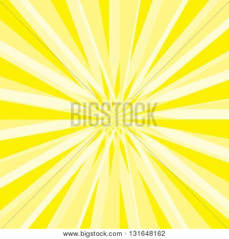 Burst abstract vector background. Explosion distortion effect. Yellow and white stripes as a rays scatter from the center of the square. Vector illustration in EPS8 format.