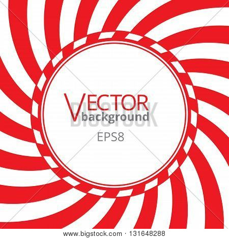Swirling radial vortex background. Red and white stripes swirling around the round blank badge in center of the square. Vector illustration in EPS8 format.