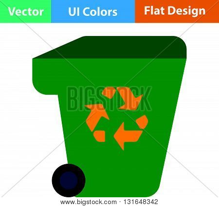 Garbage Container With Recycle Sign Icon.