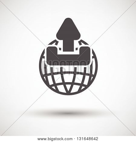 Globe With Upload Symbol Icon