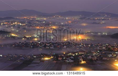 View of City night light, Dalat, Vietnam