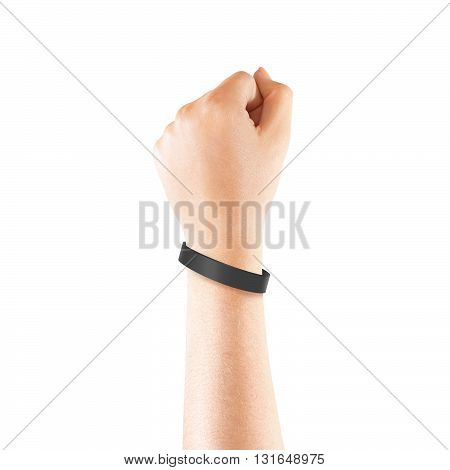 Blank black rubber wristband mockup on hand isolated. Clear sweat band mock up design. Sport sweatband template wear on wrist arm. Silicone fashion round social bracelet wear on hand. Unity band.