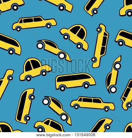 Seamless pattern of taxi cars on blue background.