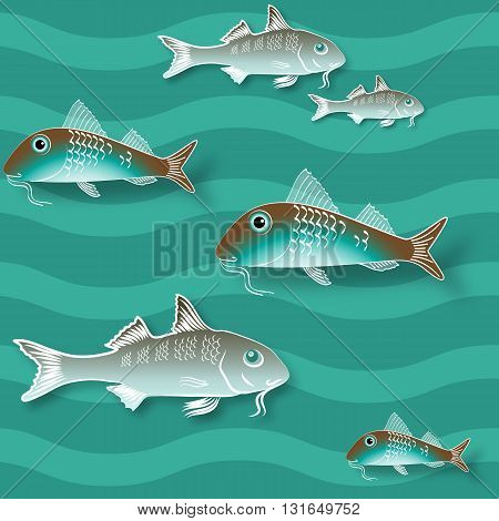 Seamless texture with fish and  wave  on  aquamarine background. Vector  pattern.