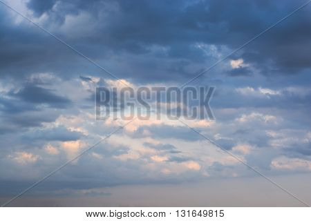 Dramatic stormy dark clouds sky background .
