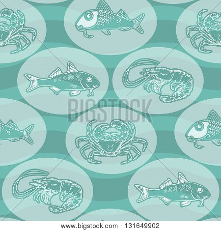 Seamless texture with silhouette fish, crab, shrimp  and  wave  on  aquamarine background. Vector  pattern.