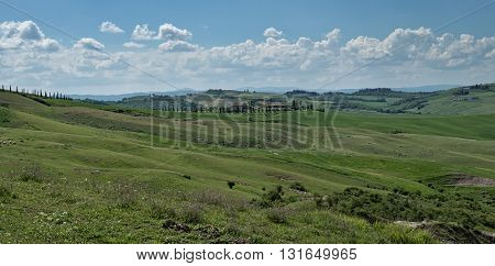 Panorama of Tuscan landscape of Val d'Orcia in the crete senesi area in Tuscany