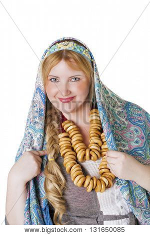 Russian beauty woman in the national blue patterned shawl