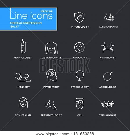 Medical profession simple thin line design icons, pictograms set with black background. Immunologist, dermatologist, allergologist, traumatologist, psychiatrist