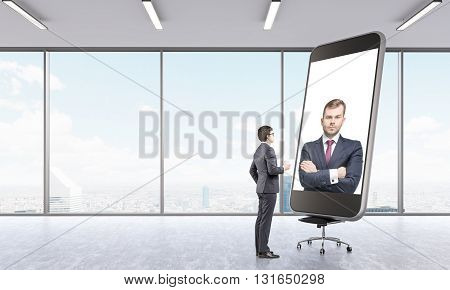 Businesspeople having online video conference on large smart phone placed on chair in empty interior with Singapore city view. 3D Rendering