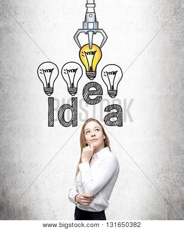 Idea and choice concept with thoughtful businesswoman and sketch on concrete background
