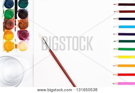 Drawing Tools And Water Closeup