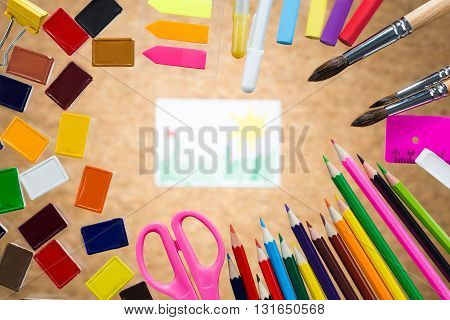 Drawing Surrounded With Colorful Tools