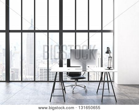 Office interior with computer monitor and lamp on desk chair concrete floor and window with New York city view. 3D Rendering