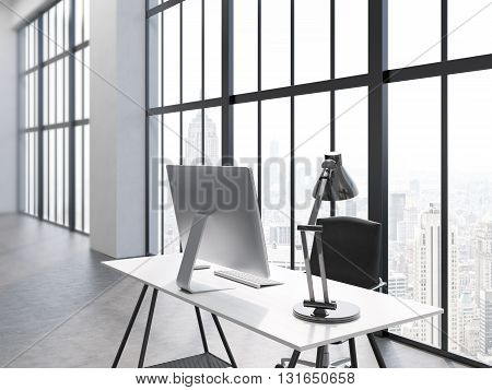 Side view of office interior with computer monitor and lamp on desk chair concrete floor and window with New York city view. 3D Rendering