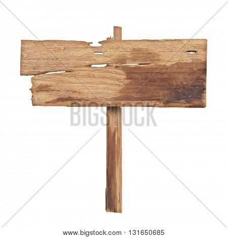 Wooden sign isolated on white background. Wood old planks sign
