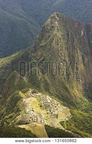 old town of machu-picchu, peru, aerial view