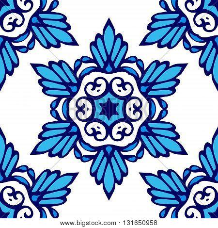 Luxury Damask flower seamless pattern blue background