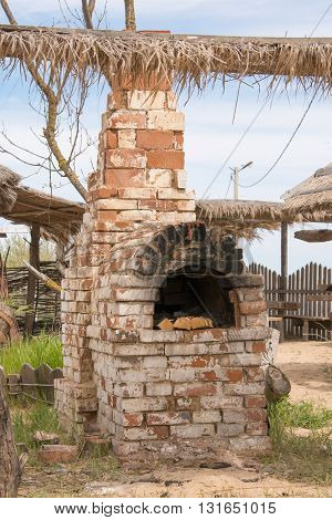 The Old Russian Oven In The Courtyard Outdoors