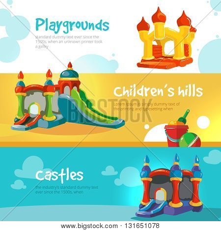 Vector illustration of inflatable castles and children hills on playground. Set of web banners with picture of inflatable castles.