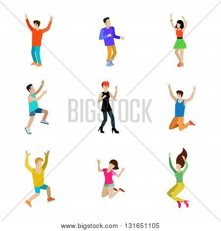 Happy people dancing man vector icon set flat style illustration