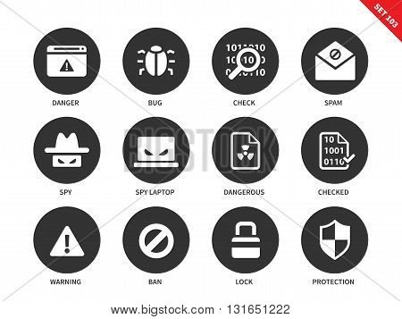 Security vector icons set. Safe internet concepr. Safety and protection items, danger, bug, spam, spy, warning, ban, lock, protection. Isolated on white background